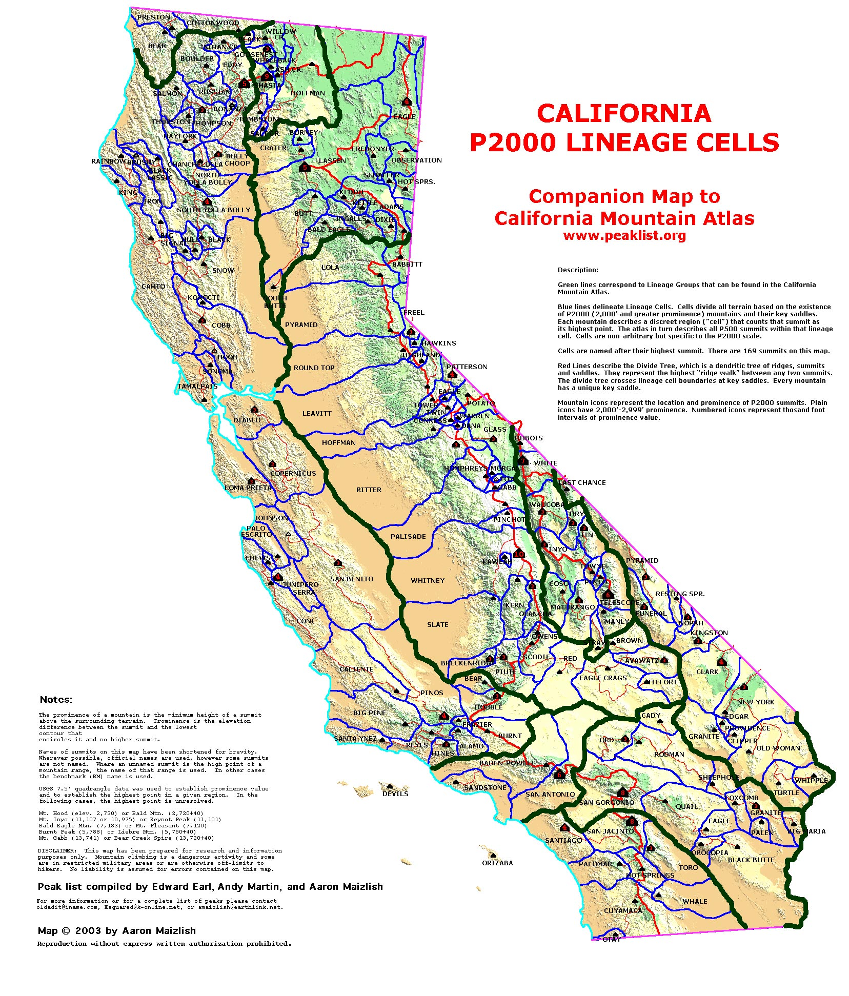 California Mountain Atlas Notes and Legend