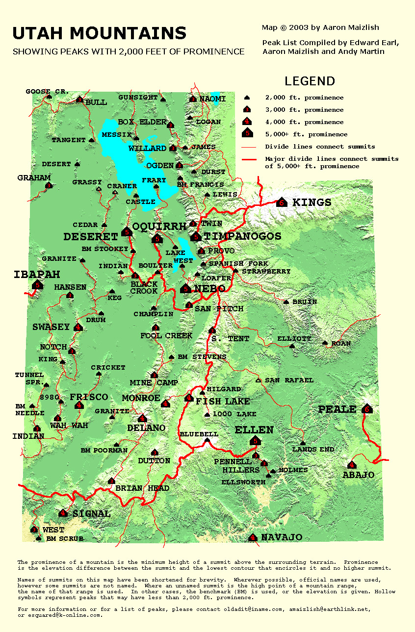Flat Top Mountain UT Climbing Hiking Mountaineering - Us mountain map