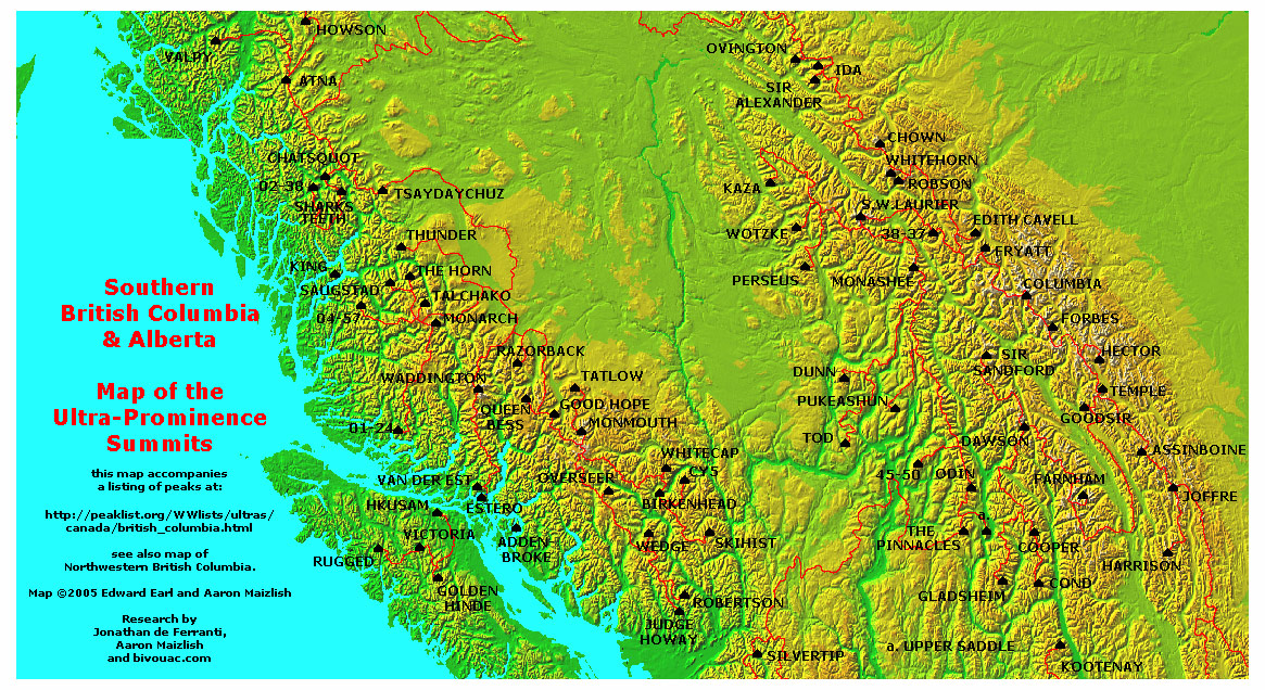 map of british columbia. Southern British Columbia