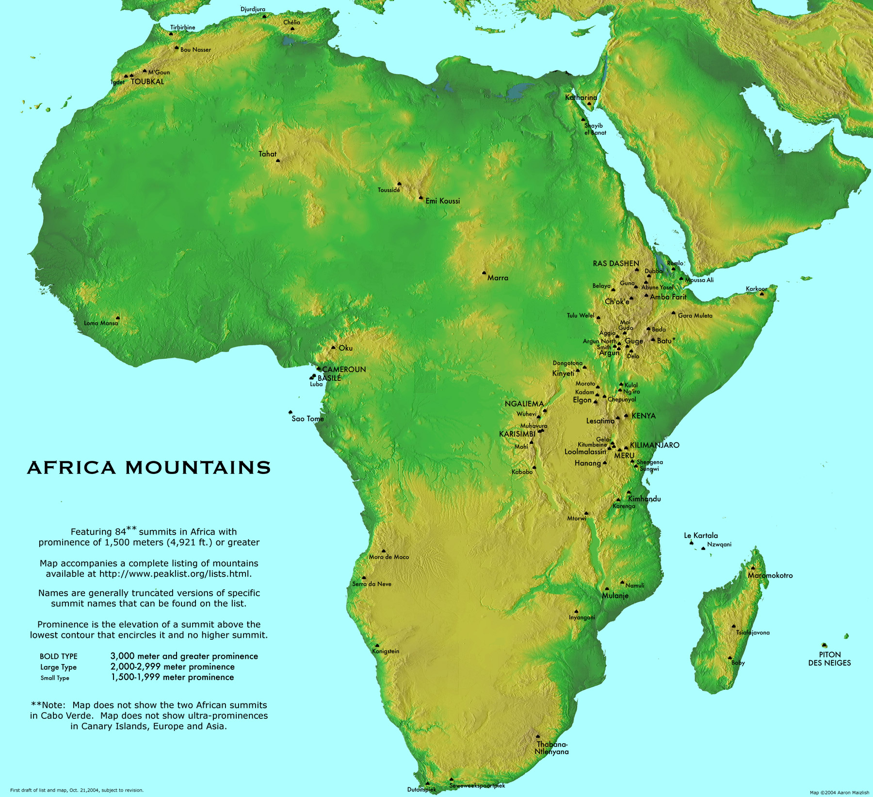 africa map and mountains